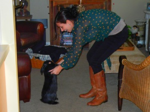 Me holding Pup's paws.