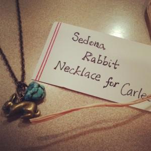 Gold Rabbit & Turquoise Stone Necklace