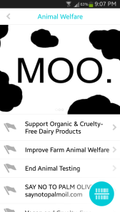 Some of the causes I support on the app.
